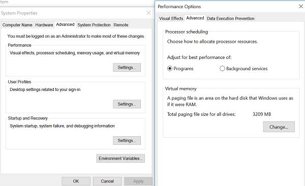 advanced setting windows