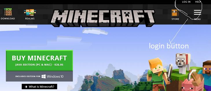 minecraft username login button