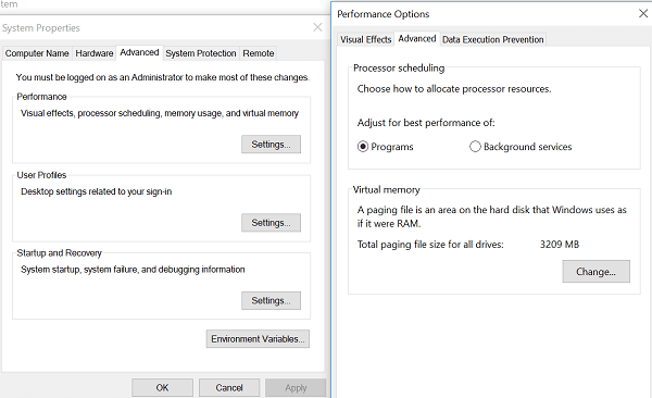 advanced setting windows
